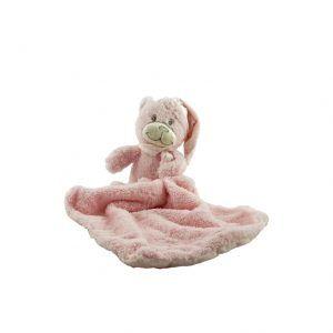 Oso de peluche rosa pequeño con doudou suave para bebés