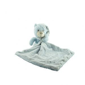 Oso de peluche pequeño azul con doudou para bebés