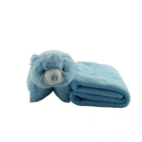 Oso de peluche que se convierte en almohada para bebés y manta a juego en color azul con topos en blanco