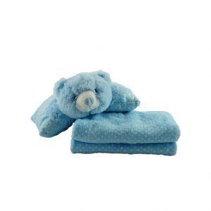 Almohada con forma de oso de peluche de color azul claro con manta a juego para bebés