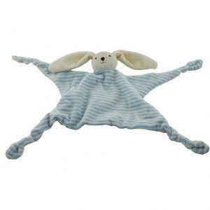 Doudou de rayas azules y blancos con forma de conejo de peluche para bebés