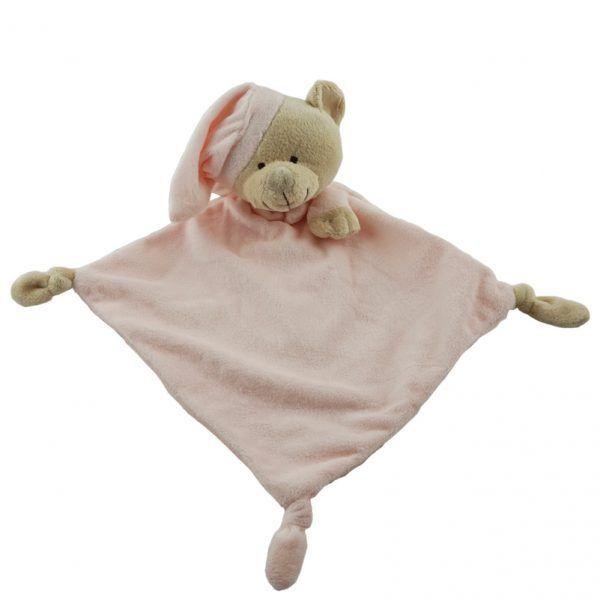 Doudou rosa para niña con forma de oso de peluche con un gorro para dormir
