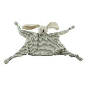 doudou con un conejo de rayas grises y blancas para bebés