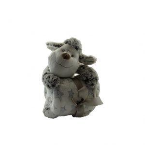 Oveja en tonos grises de peluche con manta blanca de estrellas grises