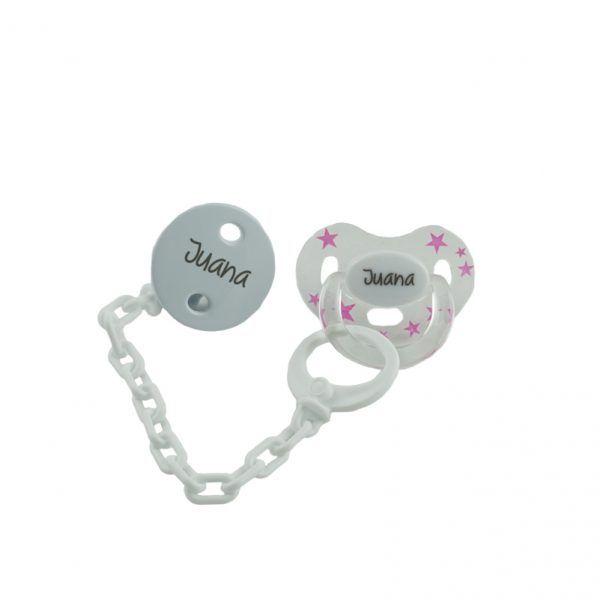 Chupete con cadena blanca personalizado con el nombre del bebé