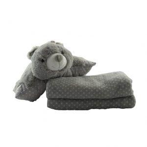 Cojín con forma de oso y manta de color gris para bebés