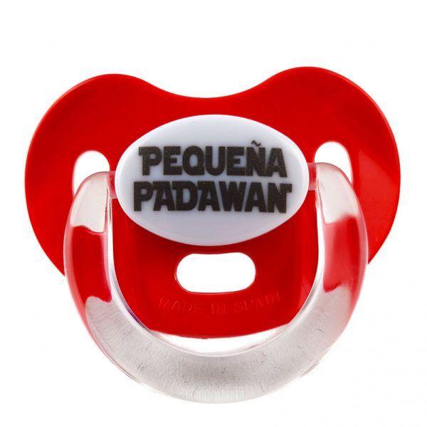 """Chupete de Star Wars rojo con el mensaje """"Pequeña padawan"""""""