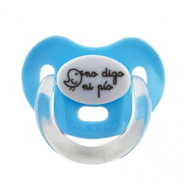 """Chupete azul claro con tetina de silicona para bebés con el mensaje de """"no digo ni pío"""" y el dibujo de un pollito"""