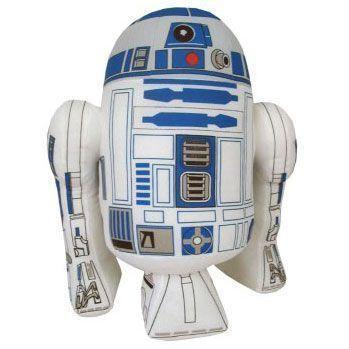 Peluche blandio de R2D2 el personaje de Star Wars. Mide aproximadamente 25 cms