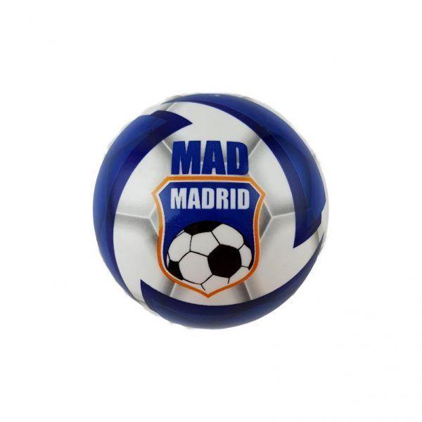 Pelota de plástico blando del Real Madrid. Es de color blanco y azul
