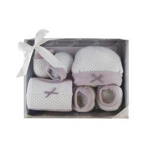 set de regalo para bebé de gorro, manoplas,patucos y babero