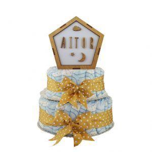 Tarta de pañales unisex beige con lámpara personalizada