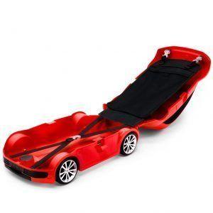 Maleta roja abierta con forma de coche para niños