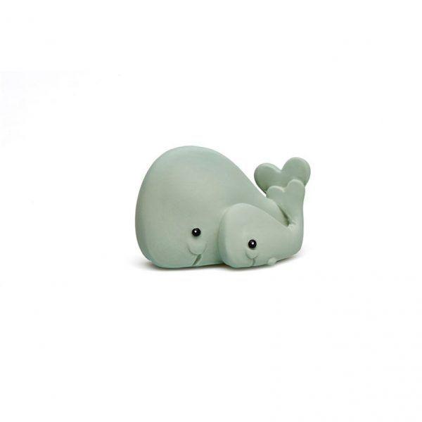 Mordedor ecológico ballena para bebés en color gris.