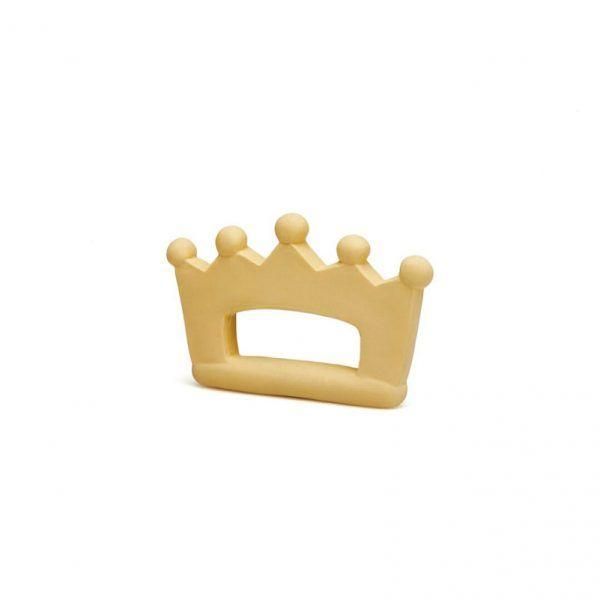 Mordedor de color amarillo con forma de corona y hecho de caucho 100% natural.