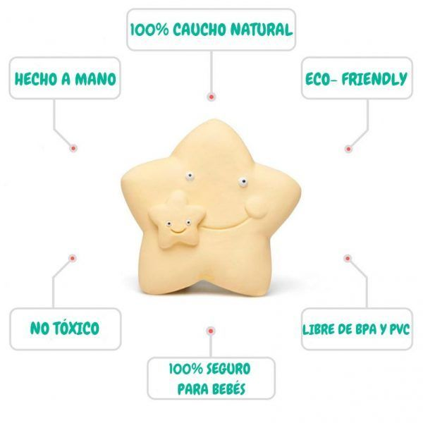 Mordedor con forma de estrella ecológico hecho de caucho 100% natural.