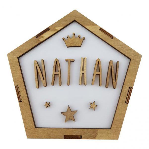 Lámpara pentagonal de madera personalizada con el nombre del bebé