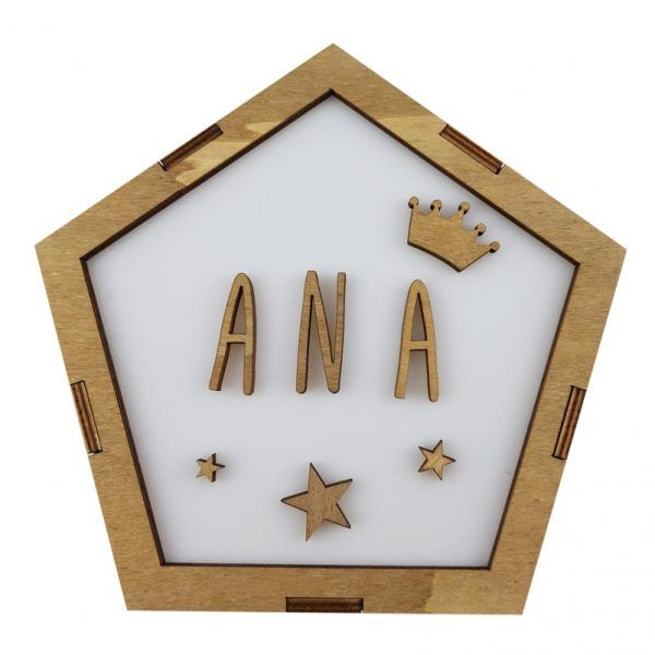lampara de madera ecológica personalizada con el nombre