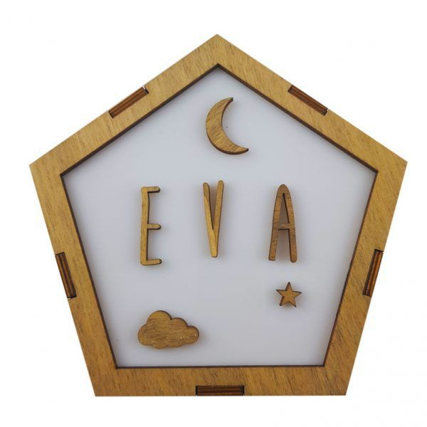 lampara de madera quitamiedos para habitación del bebé