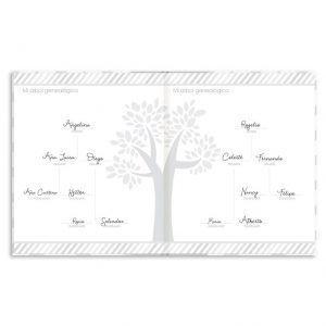 Página del libro del bebé con árbol genealógico