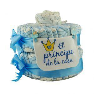 Tarta de pañales para niño en azul