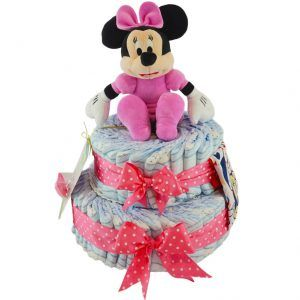 Tarta de pañales niña Minnie