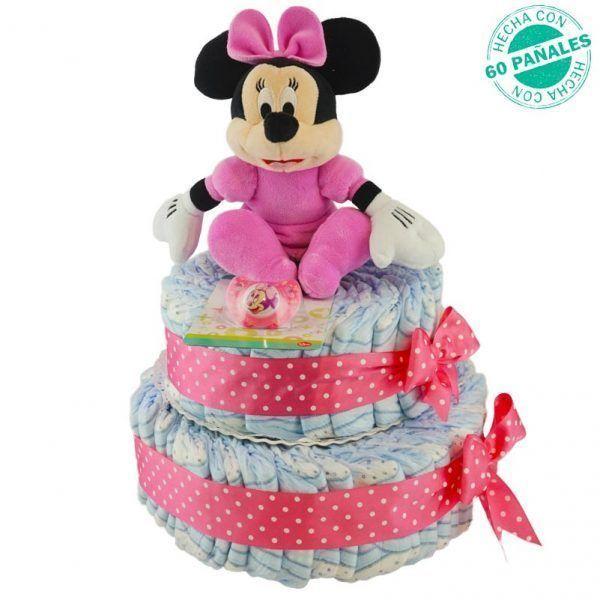 Tarta de pañales de Minnie para niña