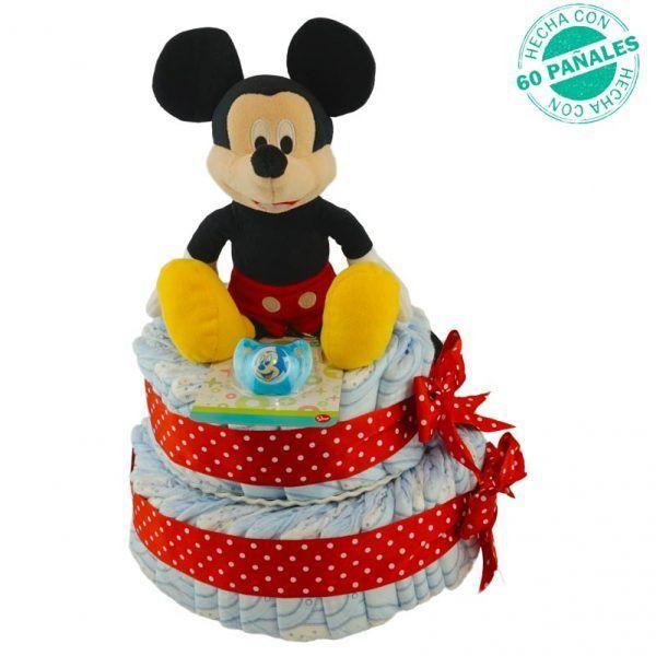 Tarta de pañales de Mickey para bebés