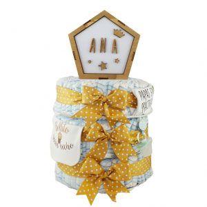 Tarta de pañales con lámpara personalizada