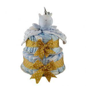 Tarta de pañales niño con doudou azul de unicornio