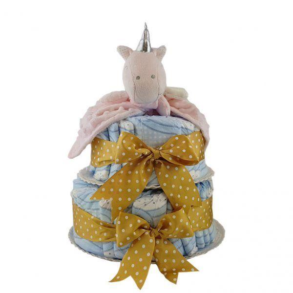 Tarta de pañales con doudou de unicornio rosa