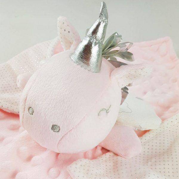 Detalle doudou rosa unicornio