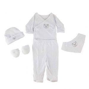 Conjunto pijama, gorro, manoplas y babero para recién nacido