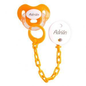 Chupete con cadena personalizado naranja