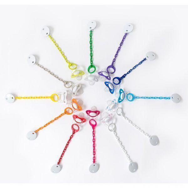 Conjunto de chupetes y cadenas de colores