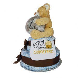 Tarta de pañales con oso de peluche