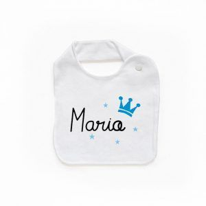 Babero personalizado corona azul