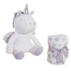 unicornio de peluche con manta