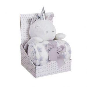 Peluche de unicornio gris con manta
