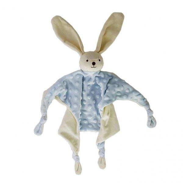 Doudou conejo azul con topos