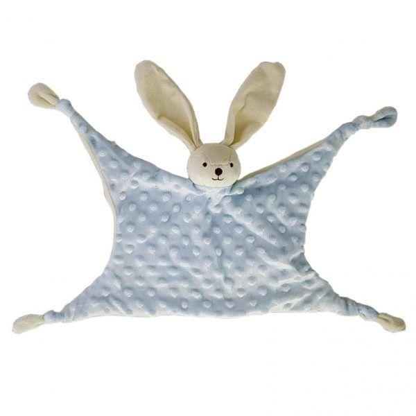 Doudou azul conejo con topos