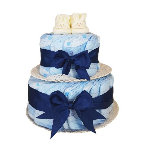 Tarta de pañales azul marino