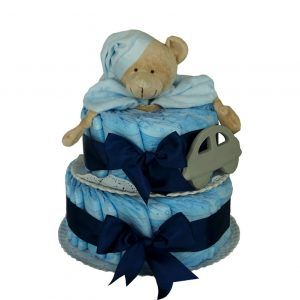 Tarta de pañales con mordedor azul