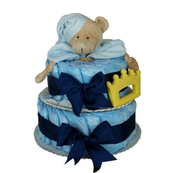 Tarta de pañales azul mordedor corona
