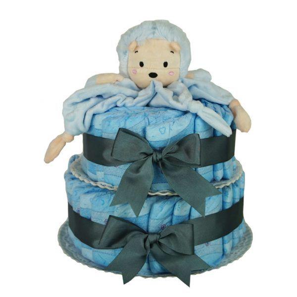 Tarta de pañales leon azul