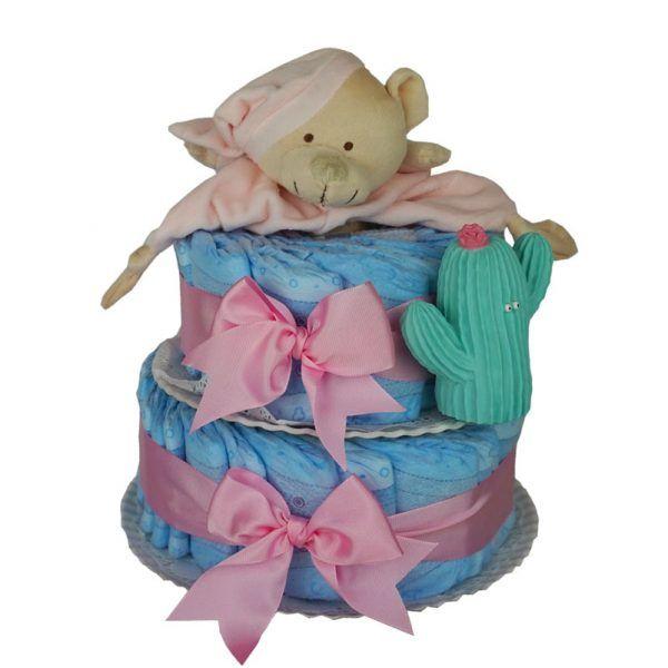 Tarta de pañales con mordedor rosa