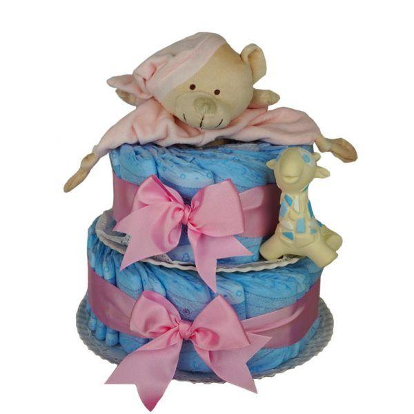 Tarta de pañales oso rosa