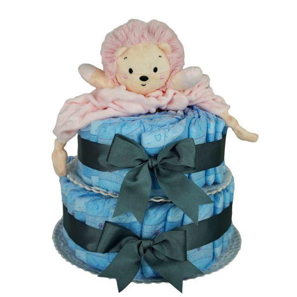 Tarta de pañales leon rosa
