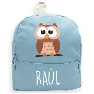 mochila personalizada buho azul