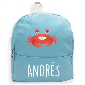 mochila personalizada azul cangrejo